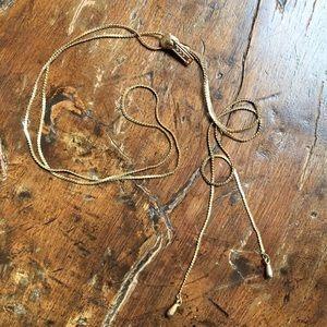 Vintage Jewelry - Vintage gold tone zipper adjustable necklace USA